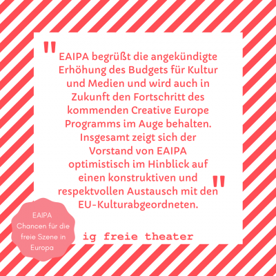 EAIPA begrüßt die angekündigte Erhöhung des Budgets für Kultur und Medien und wird auch in Zukunft den Fortschritt des kommenden Creative Europe Programms im Auge behalten. Insgesamt zeigt sich der Vorstand von EAIPA optimistisch im Hinblick auf einen konstruktiven und respektvollen Austausch mit den EU-Kulturabgeordneten.