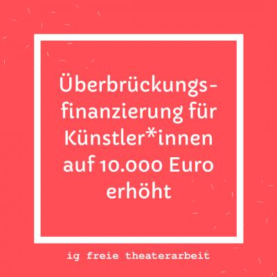 Überbrückungsfinanzierung für Künstler*innen auf 10.000 Euro erhöht